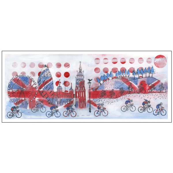 Red White and Bicycle London Print