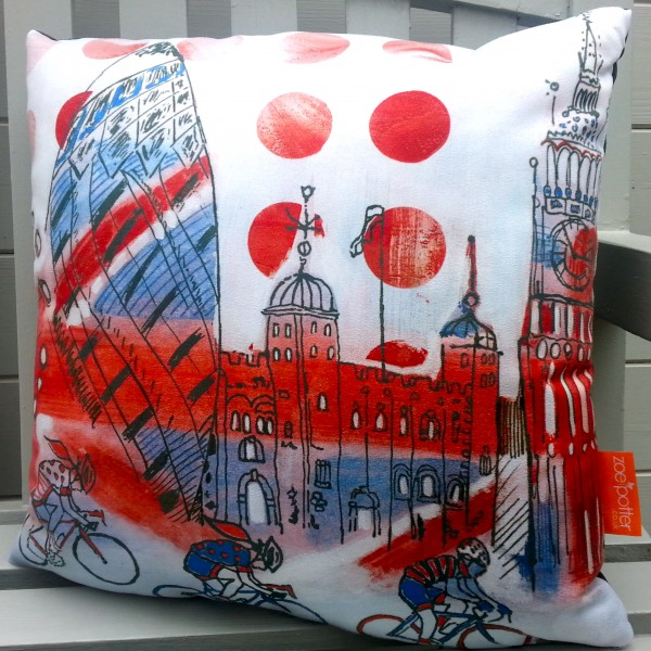 Tower of London- Red White and Bicycle Cushion