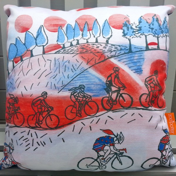 The Great British Countryside – Red White and Blue Bicycle Cushion